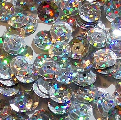 CLEARANCE  Large Pack 12mm Hologram Silver Semi-cupped Sequins. SAVE £2